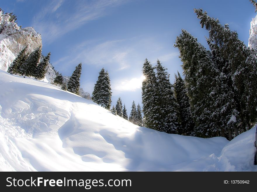 Smooth sunny winter mountains