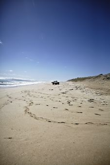 Free Truck Driving On The Beach Stock Photography - 13760482
