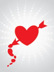 Free Red  Heart Pierced By Cupid S Arrow Stock Images - 13761444