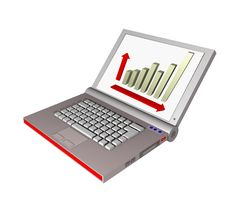 Laptop 3d With A Diagramm Stock Images