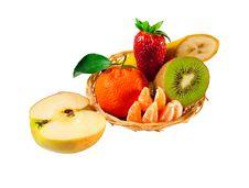 Free Fresh Fruit Plate: Strawberries, Kiwi, Apple Stock Images - 13762774