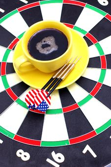 Free Darts And Coffee Royalty Free Stock Image - 13763316