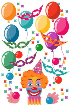 Free Celebration Set With A Clown Royalty Free Stock Image - 13763536