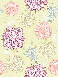 Free Seamless Flower Background Royalty Free Stock Photography - 13764567