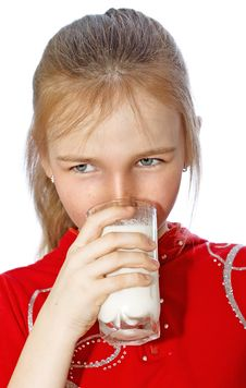 Free Little Girl Drinks Milk From Glass Royalty Free Stock Image - 13764836