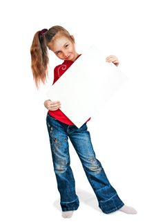 Free Little Girl Keeps Card Royalty Free Stock Photography - 13764847