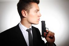 Business Man With Gun Stock Photography