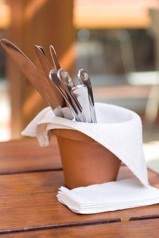 Free Knives And Forks In A Clay Pot Stock Image - 13767121