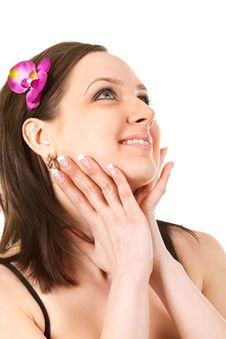 Woman At SPA With Flower Royalty Free Stock Photography