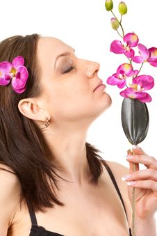 Woman At SPA With Flower Stock Image