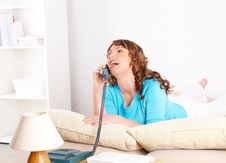 Beautiful Woman Talking On The Phone Royalty Free Stock Images
