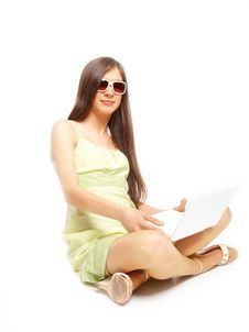 Free Beautiful Young Girl Sitting Cross Legs Stock Photos - 13767663