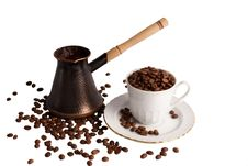 Coffee Pot Coffee Cup And Coffe Beans Stock Photography
