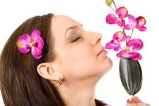 Woman At SPA With Flower Stock Photos