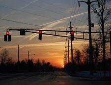 Streetlight Sunset Stock Photo
