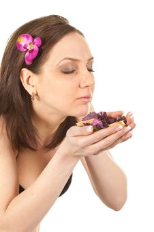 Woman At SPA With Flower Royalty Free Stock Images