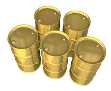Free Gold Oil Barrels - 3d Stock Photography - 13768462