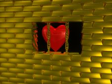 Heart In Gold Cage Stock Photos