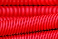 Red Plastic Pipes Stock Photo