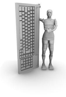 Free Female Android With Computer Keyboard Stock Photo - 13769500