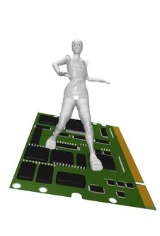 Free Android Female Board Computer Royalty Free Stock Image - 13769536