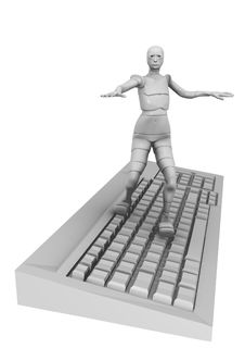 Free Female Android With Computer Keyboard Royalty Free Stock Photos - 13769538