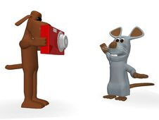 Free Funny Dog Taking A Picture Of A Cute Mouse Stock Images - 13769594