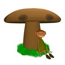 Goblin Sitting Under A Mushroom Royalty Free Stock Images