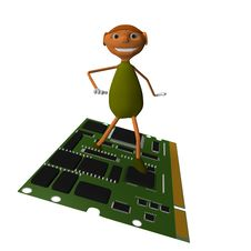 Free Goblin Card With Your Computer Royalty Free Stock Photo - 13769675