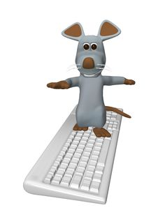 Free Cute Mouse On The Computer Keyboard Stock Photos - 13769723