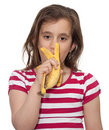 Free Young Girl Eating A Banana Stock Images - 13770564