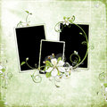 Free Green Spring Frame With Cherry Flowers Royalty Free Stock Image - 13776356