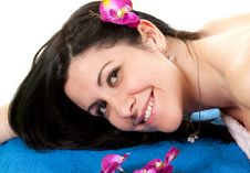 Free Woman 2 At SPA With Flower Stock Image - 13770111