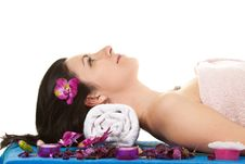 Woman 2 At SPA With Flower Royalty Free Stock Photos