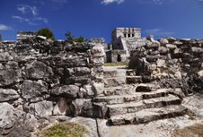 Tulum Ruins With Temple Stock Photography