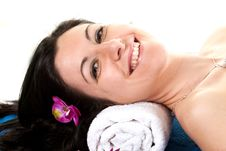 Free Woman 2 At SPA With Flower Stock Image - 13770291