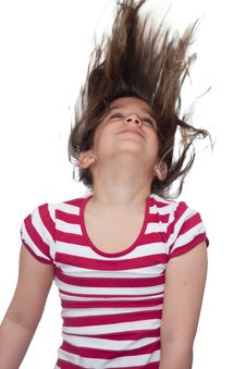 Young Girl With Her Hair Blowing In The Air Stock Photos