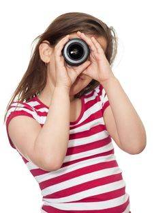Free Young Girl Looking Through A Camera Lens Royalty Free Stock Photography - 13770507