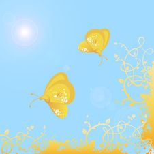 Spring Butterflies Vector Royalty Free Stock Photography