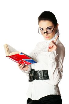 Woman With Book And Glasses. Stock Photo