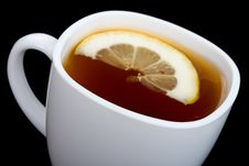Free Close-up Cup Of Tea With Lemon On Black Royalty Free Stock Photo - 13771315