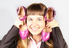 Happy Girl With Pair Of New Pink Shoes Royalty Free Stock Photos