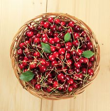 Free Basket Of Fresh Red Cherries Royalty Free Stock Images - 13771509