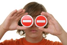 Free Teenager Holds Prohibiting Signs Before Eyes Royalty Free Stock Photo - 13772145