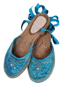 Free Old Blue Slippers Isolated On While Stock Photos - 13772153