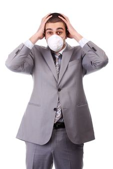 Free Man In White Respirator Stock Images - 13772244