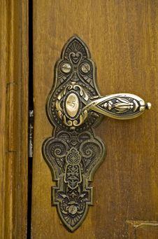 Antique Brass Door Handle Stock Image