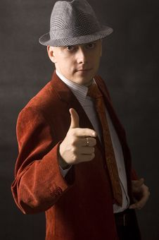 Serious Businessman In Hat Stock Photos