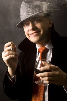 Free Happy Businessman With Drink And Cigar Stock Photo - 13773630