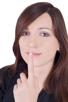 Free Picture Of Lovely Woman With Finger On Lips Royalty Free Stock Photography - 13776167